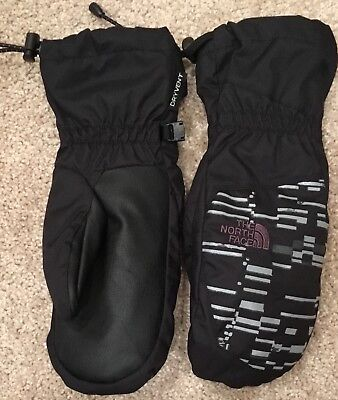 NORTH FACE boys sport mittens size Large black with silver/gray pattern NWOT