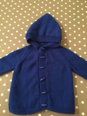 9-12 Months Baby Hand Knitted Blue Cardigan With Hood 💙