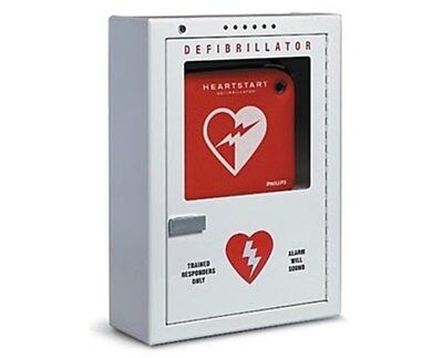 NEW Philips Potter Roemer AED Defibrillator Wall Mount Cabinet Battery Alarm