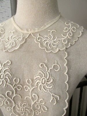 Romantic Antique Edwardian Buttercream Floral Embroidered Plastron Bodice Collar