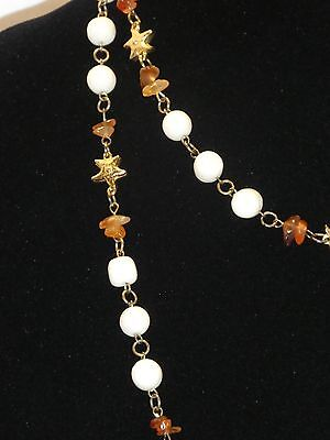 Vintage Cream Colored Glass/Amber Beaded Necklace Shiny Gold Tone Accents
