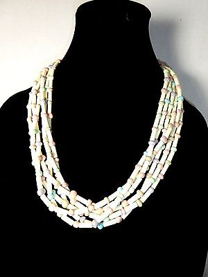 Vintage Pastel Colored Multi Strand Bead Necklace