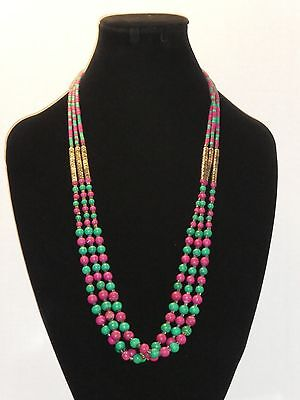 Vintage Multi Strand Silver Tone Pink/Green Necklace
