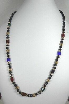 Vintage Gold Tone Multi Colored Faceted Glass Necklace 32 inches