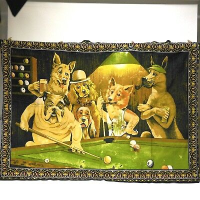 """Vintage """"DOGS PLAYING POOL"""" Man Cave Velvet Tapestry/Wall Hanging - 39"""" x 54"""""""