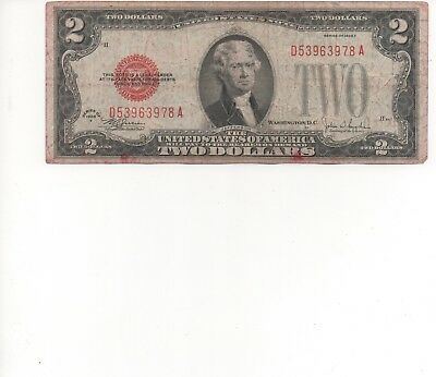 1928 Series $2 Two Dollar Red Seal Note Bill US Currency