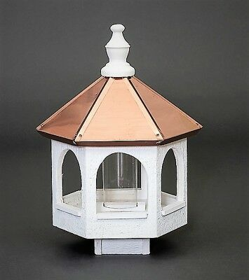 "Copper roof Bird Feeder Amish handmade handcrafted copper top Large 21"" tall"