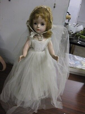 "Vintage 14"" Madame Alexander Hard Plastic Wendy Bride Walker Doll Margaret Face"