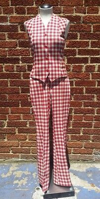 Vtg Panhandle Slim 1970s Western Suit Cowgirl Red White Checker Vest High Waist