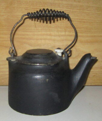 Antique Wagner Ware Sidney Oh Cast Iron 2 Cup Tea Kettle With Porcelain Knob