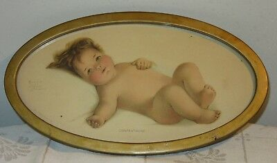 Vintage Bessie Pease Gutmann Oval Metal Framed Contentment Baby Print