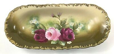 Hand Painted Porcelain Oblong Celery Dish Wheelock Germany La France Rose Victor