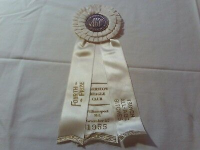 antique vintage 1955 akc beagle award winning ribbon,williamsport,md