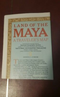 National Geographic Mag -supplement map land of the maya   - free post