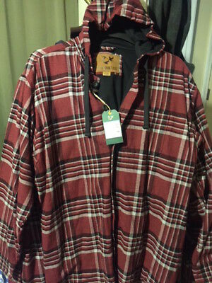 Outdoor Life Men's L- Hooded Flannel Shirt Jacket (Red)