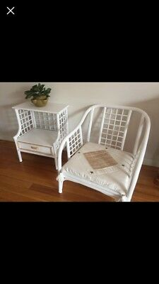 Large Vintage Bamboo Chair And Matching Side Table