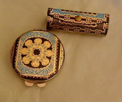 Vintage Powder Compact & Lipstick Case  : Embossed  Leather : Florence Italy