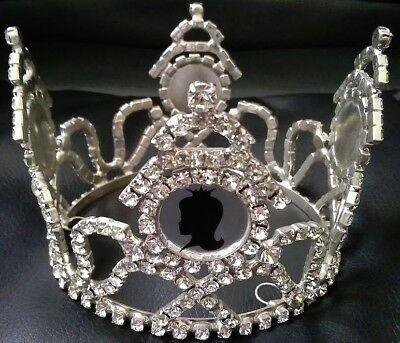 Beauty Pageant Vintage Round Rhinestone Crown Tiara Royal Victorian Style