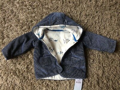 M&S navy striped, soft, hooded baby jacket. 0-3 months. New with tags