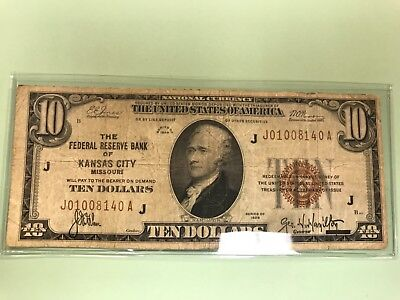 1929 $10 Brown Seal National Currency Kansas City VG Old US Paper Currency   bsz