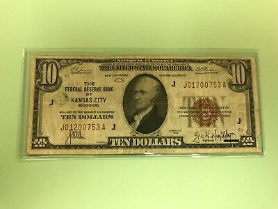 1929 $10 Brown Seal National Currency Kansas City VG Old US Paper Currency