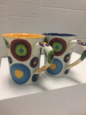 (set of 2)Hand Painted Coffee Mugs by Naylor Designs New Multicolor