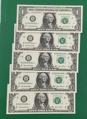 2003A $1 Choice Uncirculated SEt of 5 Consecutives New YOrk X692 Currency