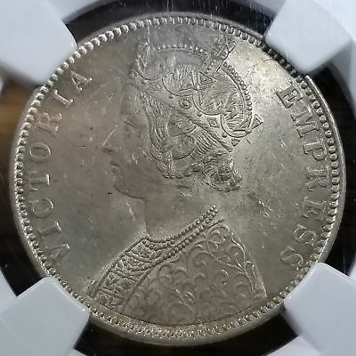 India 1901B Silver One Rupee Type A/1 MS 62 NGC