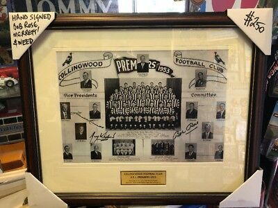 Collingwood 1953 Premiers Framed Print Hand Signed Rose, Weed And Merrett.