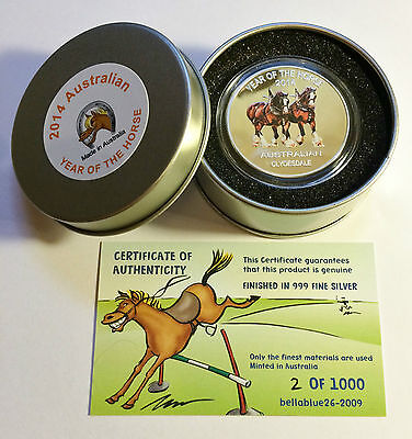 "2014 Year Of The Horse ""Aust Clydesdale"" 1 Oz Coin and Tin C.O.A. LTD 1,000."