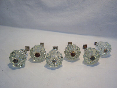 6 Vintage 1912 Clear Glass 10 Sided / Faceted Drawer Pulls Cabinet Knobs Set