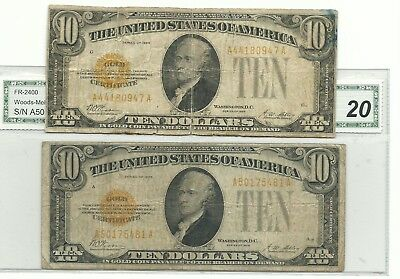 Lot of 2 - 1928 $10.00 US Gold Certificates - circulated condition FR 2400