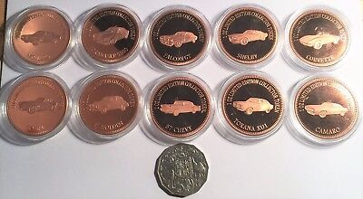 """2018 Full Set of 10 Muscle Car Series """"1&2"""" 1 0z 999 Solid Copper Bullion Coins"""