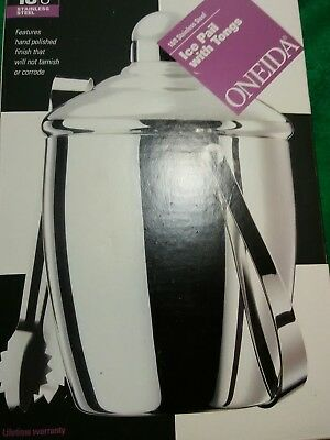 Oneida 18/8 Stainless Steel Ice Pail with Tongs - Brand New in Box!