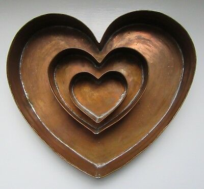 Set of Three Vintage Heart Shaped Hand Crafted Copper Cake Baking Pans 1986