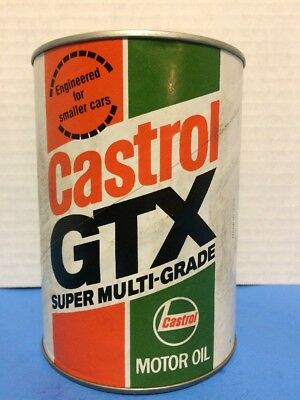 Vintage Castrol Gtx Composite Cardboard Metal Unopened One Quart Motor Oil Can