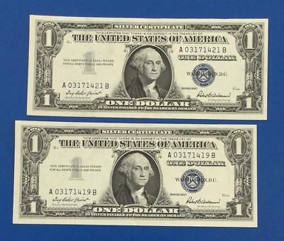 1957 $1 Blue Choice XF Near Consecutives SEt of 2! X421 Old US Currency