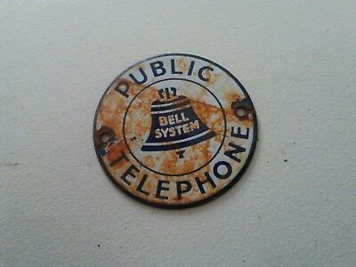 Bell System Public Telephone Porcelain Phone Booth Advertising Tag Sign