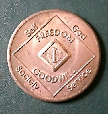 Vintage Narcotics Anonymous 1 Year Token Coin clean sober NA Freedom Goodwill