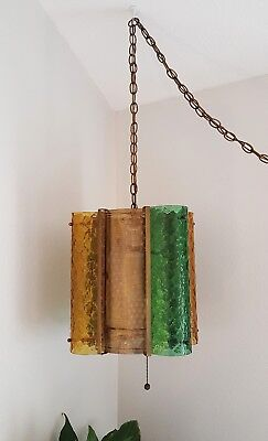 Vintage Mid Century Modern Swag Hanging Glass Light Fixture Lamp Green and Amber
