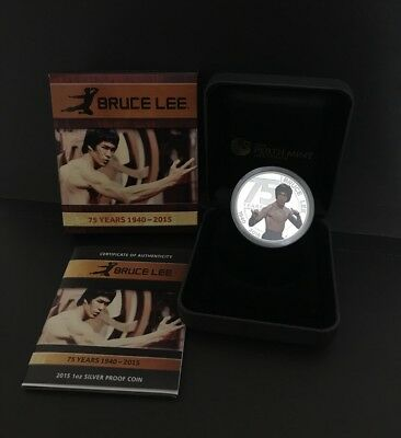 2015 1 oz 75th Anniversary of Bruce Lee Proof Silver Coin Perth Mint