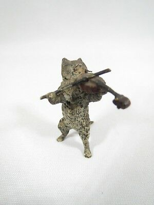 Vintage Vienna Bronze Cat playing a violin