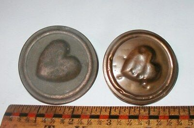 2 Antique Copper Heart Bridle Buttons Farm Barn Fresh