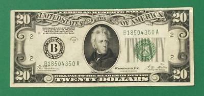 """1928B $20 """"Redeemable in GOLD"""" BIG B"""" New York X350 FINE! Old US Currency"""