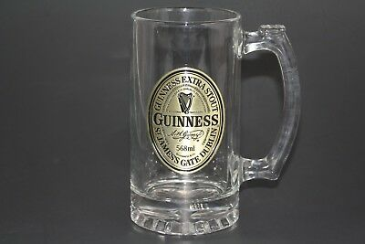Guinness Extra Stout Beer Stein Mug Glass With RARE Gold Pewter Badge