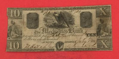 1860 $10 US Mechanics AUGUSTA GEORGIA Old Obsolete LARGE SIZE Currency