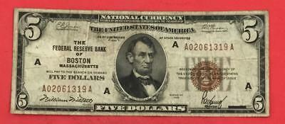 1929 $5 Brown Seal National Currency Boston X319 FINE Old US Paper Currency