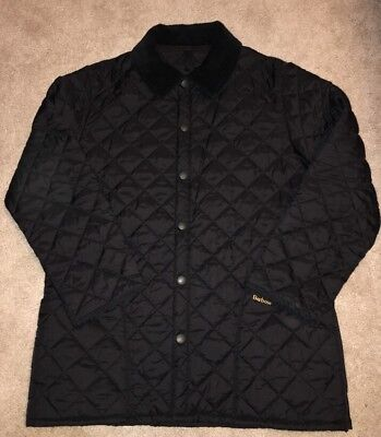 Vtg Barbour Mens Black Quilted Snap Button Front Jacket Size L