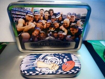 1995 AFL PREMIERS CARLTON F. C. Limited Team Edition Tin & Glass Case.