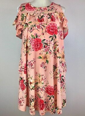 Pink Blush Womens Small Floral Cold Shoulder Ruffle Maternity Dress Pockets